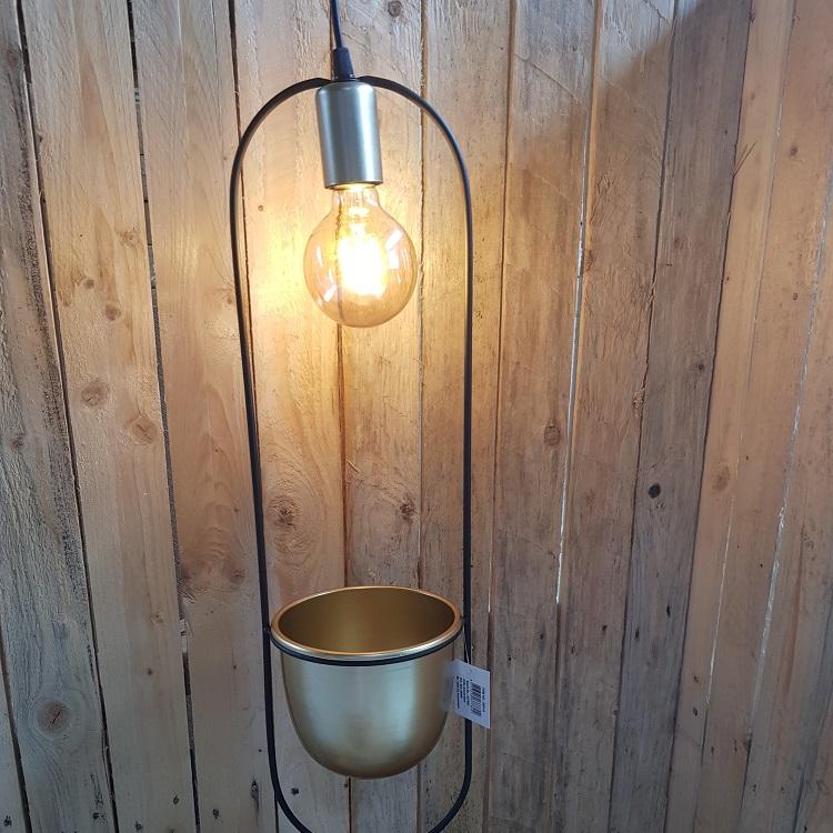 Hanglamp ovaal Martijn 16x15x60 cm metaal zwart/goud
