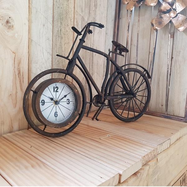 Klok metaal fietsroest 38,5x7,5x25cm