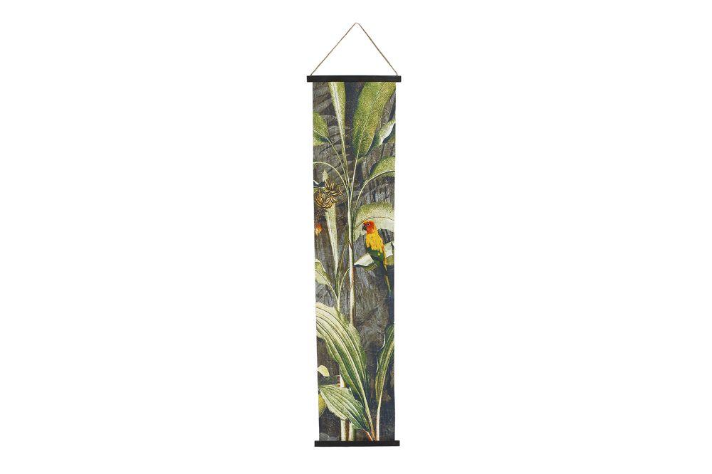 Wandversiering rechthoekig Parrot groen/geel